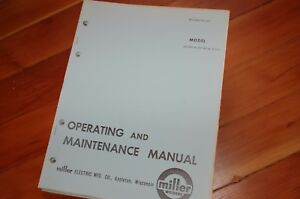 Miller Welder Sr 200 300 Wr Wrla Owner Operator Operation Maintenance Manual