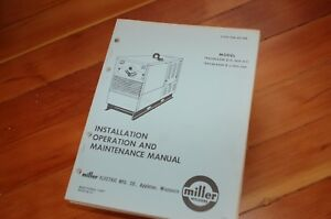 Miller Welder Trailblazer 5 d J Owner Operator Operation Maintenance Manual Book