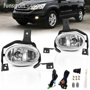 For 2010 2011 Honda Cr V Crv Clear Fog Lights Front Bumper Lamps W Switch Wiring