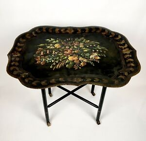 Antique 1800s Hand Painted Tole Tray Table