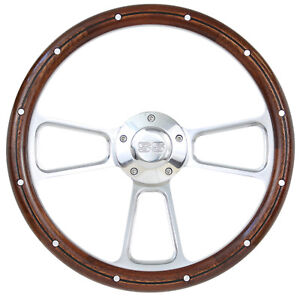 14 Steering Wheel Billet Real Wood With Ss Horn Button For 68 Camaro