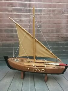 Vintage Wooden Sailboat Model 14 25 Long X 15 5 8 Tall