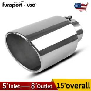 Stainless Steel Diesel Exhaust Tip 5 Inlet 8 Outlet 15 Long Chrome Rolled Edge
