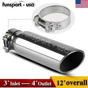 3 Inlet Bolt On Diesel Exhaust Tip 4 Outlet 12inch Long Chrome Stainless Steel