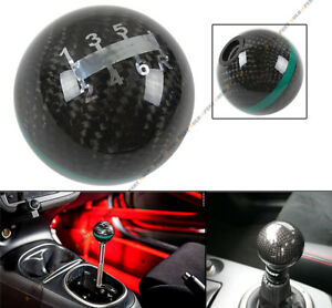 M12 X 1 25 Round Carbon Fiber Manual 6 Speed Shift Knob Green Strip For Toyota
