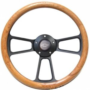14 Steering Wheel 1967 1968 Chevy Ii nova Beautiful Black Oak Chevy Horn