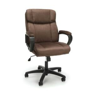 Plush Microfiber Office Chair Brown