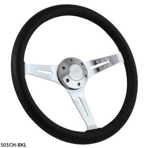15 Chrome Empire Black Leather 6 Hole Steering Wheel W Ford Horn Button