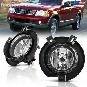 For 2002 2005 Ford Explorer Replacement Clear Fog Lights Front Bumper Lamps Pair