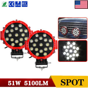 2x Off Road 7inch 51w Led Work Lights Spot Backup Pods Atv Tractor Red Marine
