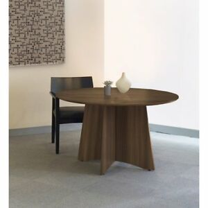 Medina Conference Table 48 Round Textured Brown Sugar