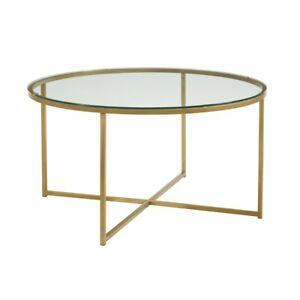 36 Coffee Table With X base Glass gold