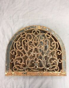 Antique Cast Iron Arch Top Heat Grate Wall Register Victorian Vtg 13x11 37 17b