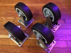 Set Of 4 Colson Swivel Plate Casters 6 X 2 Black Performa Rubber Wheel