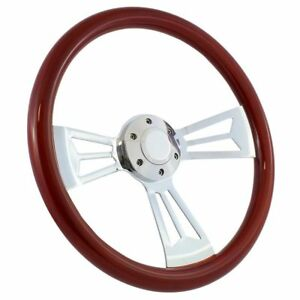 1970 77 Ford Truck F100 F150 F250 15 Wood Chrome Full Steering Wheel Kit