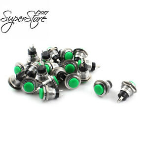 Uxcell Spst Normal Open Momentary Pushbutton Switch 12mm 20pcs Green Cap