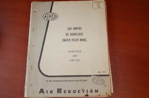 Airco 200 Amp Dc Bumblebee Crater Filler Owner Operator Parts Manual List Book