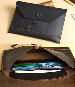 Cow Leather File Folder Pocket Messenger Bag Case Briefcase Handmade Black Z619