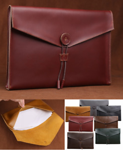 Cow Leather File Folder Pocket Messenger Bag Briefcase Handmade Wine Red Z621