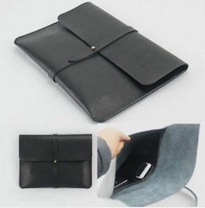 Cow Leather File Folder Pocket Case Messenger Bag Briefcase Handmade Black Z625