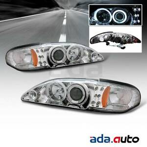 1994 1998 Ford Mustang ccfl Halo Projector Chrome Headlights Set