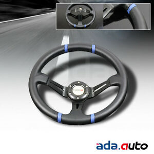 350mm Universal Black Blue Stitch Deep Dish Drift Racing Steering Wheel
