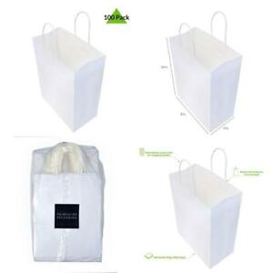 100 Pcs Wholesale White Paper Shopping Bags 8x4x10 Inch With Handles Gift Party