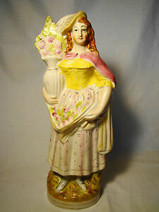 Staffordshire Figurine Of Woman With Vase Of Roses 12 Mid 19th Figure Statue