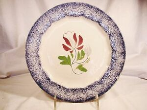 Spatterware Blue Spatter Hand Painted Tulip Or Adams Rose Plate 9 3 8 19th C