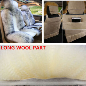 2 Pcs Auto Car Front Warm Seat Cover Genuine Australian Sheepskin Fur For Winter