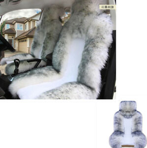 2xwhite Grey Auto Car Seat Cover Protector Long Wool Sheepskin Fur Soft Fluffy