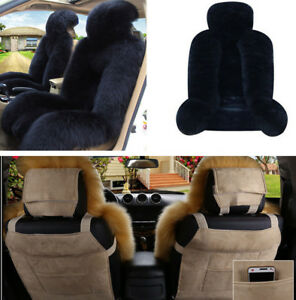 2pcs Auto Car Front Seat Cover Protector Genuine Australian Sheepskin Fur Winter