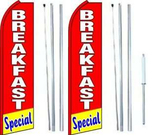 Breakfast Special Swooper Flag With Complete Hybrid Pole Set Pack Of 2