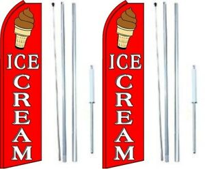 Ice Cream Swooper Flag With Complete Hybrid Pole Set Pack Of 2