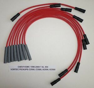 Chevy gmc Trucks 1996 2000 7 4l 454 2500hd 3500 Pickup Red 8mm Spark Plug Wires