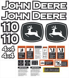 John Deere 110 Backhoe Aftermarket Decal Kit With Controls And Warnings