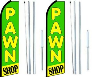 Pawn Shop Swooper Flag With Complete Hybrid Pole Set Pack Of 2