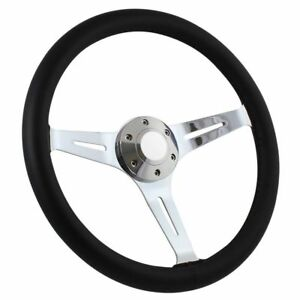 15 Black Leather And Chrome High Quality Steering Wheel With Horn Button