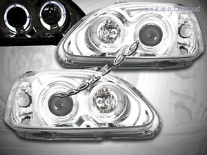 Fit For 96 98 Honda Civic Projector Headlights Halo Coupe Sedan