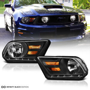 shelby Gt Style 10 14 Ford Mustang Factory Look Black Headlight Driving Lamp