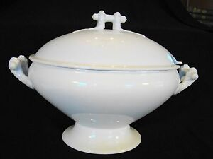 T R Boote White Ironstone Savoy Pattern Oval Soup Tureen Cover 1890 1906