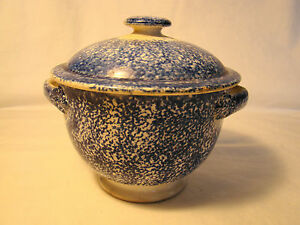 Spatterware Blue Spatter Sugar Bowl Cover Early Mid 19th Century Earthenware