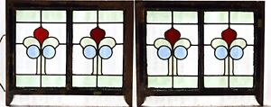 Pair Of Antique Stained Glass Windows Four Colors Art Nouveau Tulips 3060
