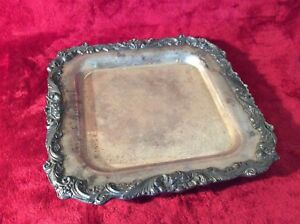 Sheffield Footed Silver Plate Serving Tray 12 Square Grapes Leaves Vines 204