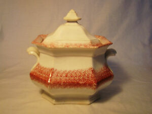 Spatterware Red Spatter Octagonal Sugar Bowl Cover Early Mid 19th Earthenware
