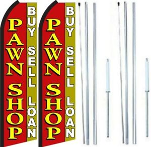 Pawn Shop Buy Sell Loan Swooper Flag With Complete Hybrid Pole Set Pack Of 2