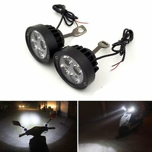 Motorcycle Headlight Spot Fog Lights 4 Led Front Head Lamp 12v Offroad Pair