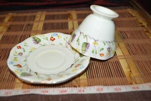 Eb Co Foley China Hand Painted Leaf Floral Footed Tea Cup Saucer