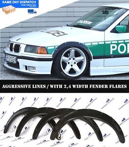 Bmw E36 Fender Flares Wheel Arches Extension Wide Body Kit 2 4 Inch Black Abs
