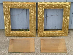 Pair Antique Aesthetic Eastlake Victorian Gold Patterned Picture Frames 8 10 Gls